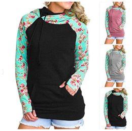 Wholesale jacket hoodie women outerwear - Double Color flower printed Hoodies Long Sleeve Patchwork Pullover Winter Women Jacket Sweatshirts Jumper Outerwear GGA125 10PCS