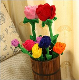 Wholesale Red Cotton Curtains - Wholesale- 2005-65 baby plush toy 1pcs 65cm sunflower curtain buckle Cartoon plush flower curtain rose The wedding & birthday gift