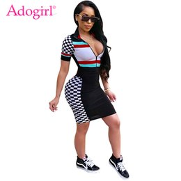 Wholesale Female Racing Suits - Adogirl Women Race Suit Style Plaid Print Short Sleeve Summer Dress Zipper Front Bandage Mini Dresses Female Club Wear Costumes