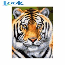 Wholesale abstract figure drawing - Digital Diy oil painting by numbers figure wall decor picture on canvas oil paint coloring by number drawing animals Tiger