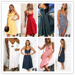 Wholesale Sexy Backless Midi Dresses - Women Sexy V-neck Bow Backless Polka Dot Print Summer Beach Dress 2018 Boho Cotton Buttons Off Shoulder Suspender Midi Dresses DHL Ship