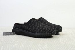 Wholesale Pirate Shipping - Free Shipping 2018 New Mens Boost 350 V1 Slippers Pirate Black Turtle Tove Kanye West Scuffs Slides