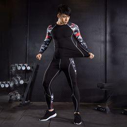 2019 teens anzüge 2 stück trainingsanzug männer kompression anzug rashgarda mma langen ärmeln strumpfhosen thermische unterwäsche grundlage Teen fitness leggings 4XL günstig teens anzüge