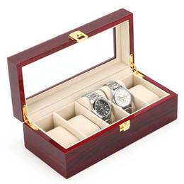 Wholesale Watch Piano - Free Shipping 5 Grids Watch Display Box Red Piano Paint Watch Storage Box Fashion MDF Brand Storage Boxes Case D022
