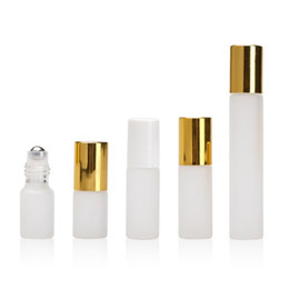 Contenedores de acero online-3ML 5ML 10ML Froested Rollon Bottle Acero inoxidable Roller Ball Roll-on Bottle Aceite esencial Fragancia Contenedor Tubo Casquillo de oro