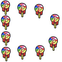 Wholesale Lollipops Costumes - 10PCS Colorful Lollipops Patches Iron on Stripe Stitching Embroidered for Clothing Patch Sewing Fabric Bages Patches for Costume Diy Craft