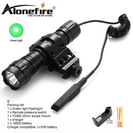 Wholesale green lantern battery - AloneFire CREE 501Bs LED Flashlight Green Light Long distance exposure Tactical Lantern Remote Pressure Switch Mount for 1x 18650 battery
