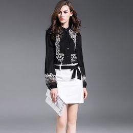 Wholesale Silk Chiffon Women Blouses - 2018 New Autumn Women Blouse Embroidery Office Elegant Ladies Chiffon Shirts Sexy Lace Mesh OL Flower Top Female Clothing Blusas