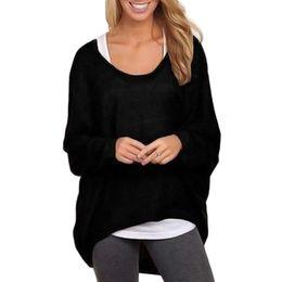 Mujeres holgadas sudaderas online-Otoño Invierno Mujeres sueltas de manga larga Casual Pullover Overzied Baggy Tops pull femme suéter de punto jersey jersey mujer Z1
