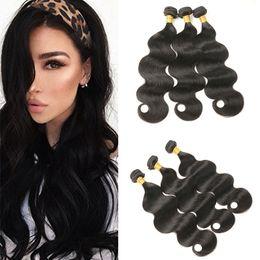 Wholesale G Human - Indian Body Wave Human Hair Bundles 3pcs  lot Unprocessed Virgin Hair Extensions Natural Wave 100(+ -5)g pc Free Shipping