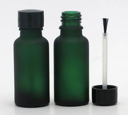 Nagelöl flaschenbürste online-12 teile / los 20 ml Leere frost grün glasflasche Nagellack flasche 2/3 unze ätherisches öl container mit pinsel kappe