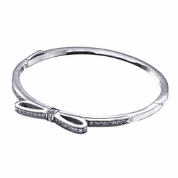 Wholesale Bow Bangles - 2017 New Retro 925 Sterling Silver Original Sparkling Bow Bangle With Clear Cubic Zirconia Original Bracelet DIY Jewelry