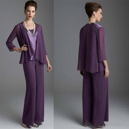 Wholesale blue silk pants - 2018 Elegant mother's Suit Three Pieces Mother Pant Suits Long Sleeves Plus Size Mother Of The Bride Suit mother of the bride dresses