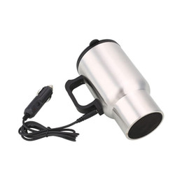 Taza de calor eléctrico online-Taza de café del coche bebidas taza calentada eléctrica 450ML thermos taza taza aislada caldera 12v