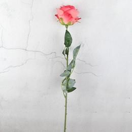 2019 künstliche einzelne rosen Startseite Hochzeit Dekoration Blumen Real Touch hohe Qualität Künstliche Blumen Rosen Valentinstag einzigen verzweigten Rose günstig künstliche einzelne rosen