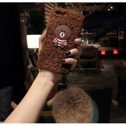 Wholesale Cute Animal Phone Cases - Cute Soft Plush Toys Kawaii Bear Stuffed Animals Phone Case For iphone7 7plus 6 6s x 8 8 plus Warm Soft Cover Gift