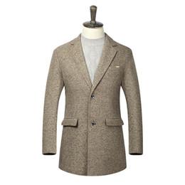 Wholesale coat dress red wool - 2017 New Winter Jacket Men Suits Dress Jackets Men Casual Fashion Long Thicken Wool Coat Warm Male Clothing Plus Size 3XL