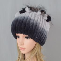 Women Natural Real Rex Rabbit Fur Beanies Hats Winter Warm Knit Genuine Rex  Rabbit Fur Caps New Female With Fox Skullies Cap e3e03410cc4a