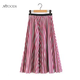 Wholesale Strip Skirt - Natooda 2018 Women Fashion Stripped Mid-Calf Pleated Skirts Women Vintage Coloful Boho Midi Skirt Summer Saias Femme XY3232