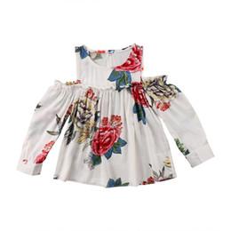 Девушки одеваются с плеча онлайн-InfantBaby Girls Floral Off Shoulder White Dress