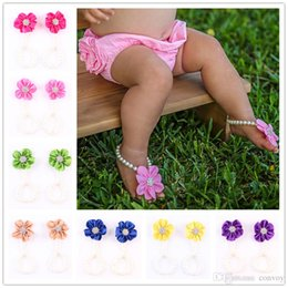 Wholesale pearl barefoot sandals - Flower Sandals Simulated Pearl Anklets Newborn Baby Girls Foot Band Toe Rings First Walker Barefoot Sandals Kids Photography props KFA39