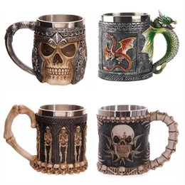 Wholesale Stainless Steel Double Wall Bottle - 350ml Double Wall Stainless Steel 3d Skull Mugs Coffee Tea Bottle Mug Skull Knight Tankard Dragon Drinking Kup Milk