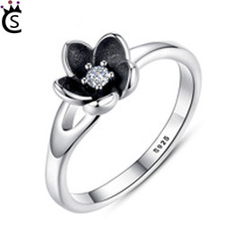 Wholesale beautiful china girls - Authentic 925 sterling silver ring beautiful black flower rings With zircon pure and fresh wedding ring For Girl