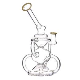 новый рецикл bong Скидка Новый дизайн Dab Рог робот рециркуляции стекла бонг с чашей или кварцевый фейерверк зеленый или желтый водопровод бонги буровые вышки