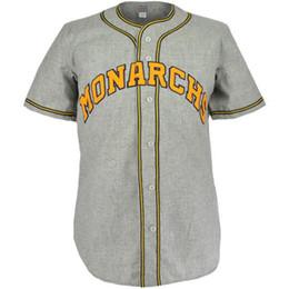 Strade del logo online-Kansas City Monarchs 1945 Road Jersey 100% ricamo cucito loghi maglie di baseball vintage personalizzato qualsiasi nome qualsiasi numero di trasporto libero