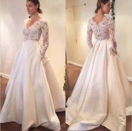 Wholesale Garden Engagement - 2017 Lace Wedding Dress long sleeve Sexy Bridal Gown V Neck Engagement Dresses Custom Made Satin A Line With Pocket