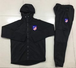 Wholesale Men Sports Suits - Real Madrid Soccer jerseys Jacket 17 18 AC Milan DYBALA hooded SUIT Coat Zipper jackets tracksuits sports wear