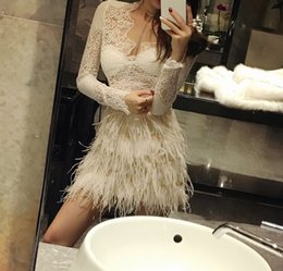 b1975c7b62c 2018 New fashion women s club party high waist real ostrich fur tassel  fringe short bodycon skirt plus size SML