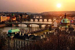 Wholesale River Picture - DIY frame Cityscapes old Czech town Prague rivers Scenery Poster Home Decoration Printing Silk Wall Poster Picture Print