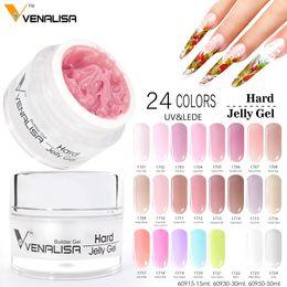 Wholesale Hard Finger - #60915 Venalisa Hard Gel CANNI 15ml Finger Nail Extension UV Gel Nail Cover Pink Camouflage UV New Art