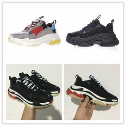 Wholesale thick laces - New Triple S Shoes Man Woman Sneaker High Quality Mixed Colors Thick Heel Grandpa Dad Trainer Triple-S Casual Shoes With Logo