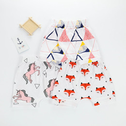 Wholesale Fox Print Clothing - 2018 Ins Baby clothing PP shorts Summer Animal Fox Horse Geometric Printed shorts Harem short Children clothes wholesale