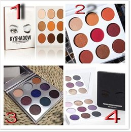 Wholesale luminous dhl - AAA quality   New makeup mix Jenner KyShadow burgundy 9 color Bronze powder eyeshadow palette !DHL free shipping !
