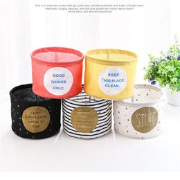 Wholesale Desk Accessory Holder - 1PC Round Cotton Desk storage Basket Case Table foldable organizer Sundries Box Folding Cloth Case Bathroom accessory holder