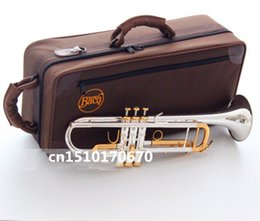 Wholesale Bach Silver Trumpet - Bach Trumpet High quality New American trumpet silver plated LT180S-72 Musical instruments professional Free shipping