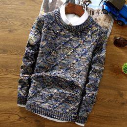 Tops tejido a mano online-Tops de punto de los hombres de moda suéter de la raya suéter suéter masculino O-Cuello Slim Fit Knitting casual para hombre Punto hombre Pullover Hombres XXL Mano
