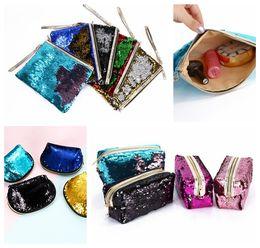 Wholesale Bling Purses Sequins - Mermaid Sequins Cosmetic Makeup Bags Clutch Gold Zipper Storage Bag Glitter Bling Cosmetic Makeup Bag Purse Pouch KKA4424