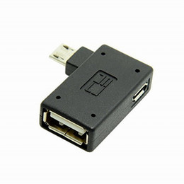angle otg cable Promo Codes - Wholesale- New 90 Degree Left Angled Micro USB 2.0 OTG Host Adapter