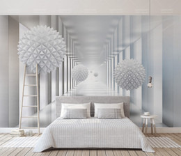 mural de pared abstracto Rebajas CustomRetail Abstract Architectural Polygon Ball 3D Stereo Space TV Fondo Pared 3D Angula rBall Space Scroll Mural