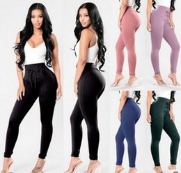 Wholesale Women S Lace Leggings - 2018 new women casual pants fashion High Waist Thick Slim Skinny Stretchy trousers ladies Lace up Leggings Pants feet 5 colors