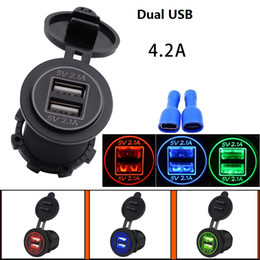 Wholesale Iphone Motorcycle Charger - IP66 Motorcycle car Modified Accessories 4.2A Dual USB charger Waterproof and dustproof Cover 1pcs lot