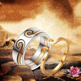 Valentine um por atacado on-line-Dois Em Um Par Anéis Geométrica Oco de Aço Inoxidável Chapeamento De Prata De Ouro Brilhante Anel Mulheres Homens Jóias Por Atacado Presente Do Dia Dos Namorados