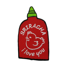 Wholesale Garment Accessories Patches - Fasshion SRIRACHA i love you Embroidered Patch Iron On Kids Cloth Garment Applique Sewing Embroidery Accessories
