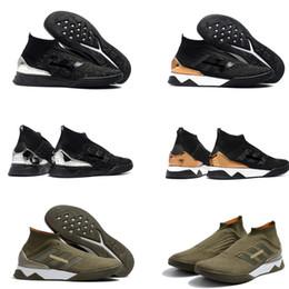 Tacos de fútbol messi negro online-2018 zapatos de fútbol para hombre más recientes, negro y verde de Messi original sin encaje Predator Tango 18+ TR