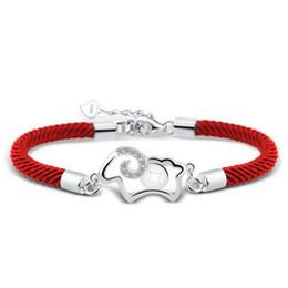 Bracelets rouges pas cher en Ligne-100% 925 argent sterling mode rouge corde petits bracelets en cristal de mouton pour les femmes cadeau d'anniversaire wholeslae pas cher bijoux 5Y286