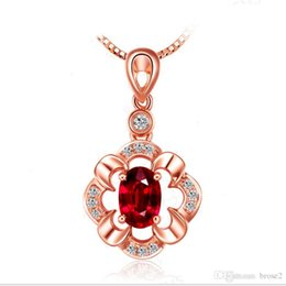 Wholesale Red Flower Gift - Silver necklace female Japan and South Korea silver pendants flower pendants Ruby pendants 18K rose gold and silver jewelry